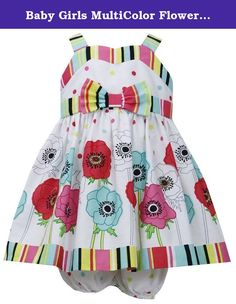 Baby Girls MultiColor Flower Dotted Sun Dress, Fuschia, 6-9 Months. The multicolor strapped dress features a multicolor strip that runs across the very top chest with multicolor dotted design under, ribbon and bow trim at the waist with a different flower design at the second part of the dress followed by another thick multicolor strip located at the hem. A zip & tie back closure, this dress includes a matching bloomer as well. A terrific dress to be worn during any Summer/Spring occasion.