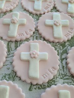Floral Cross for First Communion Baptism Christening Dedication Monogram 100% edible Fondant cupcake toppers cake toppers on Etsy, $17.50