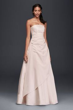 Searching for the perfect elegant-meets-classic bridal look? This timeless satin A-line wedding dress just might be your perfect match.   Polyester  Sweep train  Back zipper; fully lined  Dry clean  Imported  Also available in Plus Size