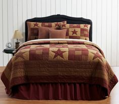 Ninepatch Star Burgundy Queen Quilt 6 Piece Set The Ninepatch Star is a classically primitive bedding set that is sure to add country charm to any room. This set is part of the Ashton & Willow collect #PrimitiveBedroom