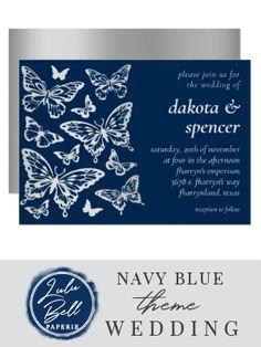 Blue Wedding Invitations, Wedding Stationery, Custom Invitations, Green Wedding Decorations, Reception Decorations, Chic Wedding, Wedding Navy, Sparkly Bridesmaid Dress, Blue And Silver
