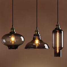 RETRO VINTAGE INDUSTRIAL  SMOKEY GLASS SHADE LOFT PENDANT LIGHT CEILING LAMP
