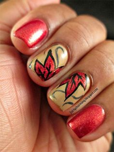 easy fall leaves nail art - Google Search