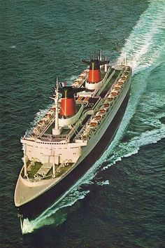 SS FRANCE at full chat during her sea trials in November 1961.. She was the second fastest ship ever built maxing out at 35.21 knots