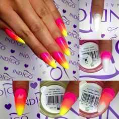 by Ania Leśniewska Indigo Educator, Follow us on Pinterest. Find more inspiration at www.indigo-nails.com #nailart #nails #indigo #ombre #neon #pink #yellow