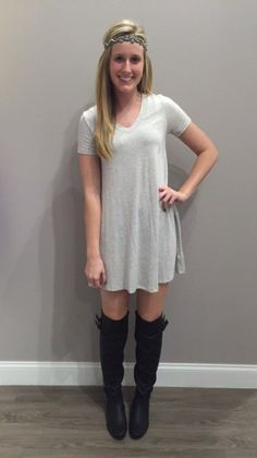 In LOVE with this heather grey, v-neck, shift dress! You can definitely dress it up or dress it down. - $36 #newarrival #shiftdress #heathergrey #ootd #pinkpewter #OTKboots #shoplocal #apricotlanedesmoines