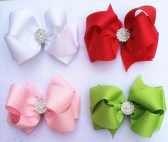 "Holiday Glimmer 4"""" Hair Bows Package - 4 Clips"