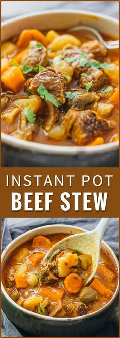 I love this Instant Pot beef stew: it's an easy-to-make basic beef stew with onions, carrots, potatoes, and mushrooms. thick beef stew recipe, pot roast, beef bourguignon, beef barley soup, crock pot recipes, stove top, clean, best, pioneer woman, paleo, quick, slow cooker, dutch oven via @savory_tooth