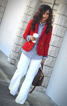 Wear a white modest length skirt instead.  White Slacks, Button Down, Red Jacket - business casual