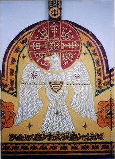 Turul by Isaszegen, a Hungarian folk artist. Turul is depicted carrying a shield with the stripes of Árpád and holding the moon and sun on his shoulders. Hungarian Tattoo, Hungarian Embroidery, Hungary History, Animal Symbolism, Heart Of Europe, Asatru, Family Roots, Religious Art, World Cultures