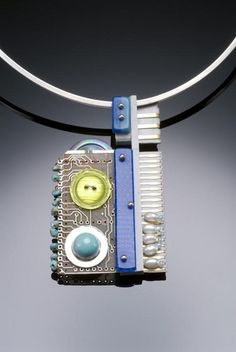 Secret Life of Jewelry - A Universe of Handcrafted Art to Wear: Alice Sprintzen Jewelry. 'Completing the Circuit'  made with buttons, turquoise and beads, pearls,  computer parts, a plastic reflector, cast plastic pieces,  and sterling silver.
