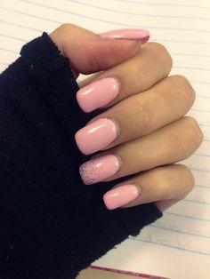 Pastel pink glitter Biosculpture Gel nails, Nail art