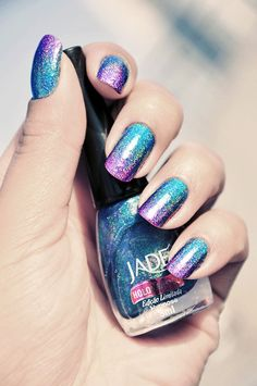 Bling Holographic Nail Polish For Women - Jade Holographic Nail... - Nail Polish - Blue: