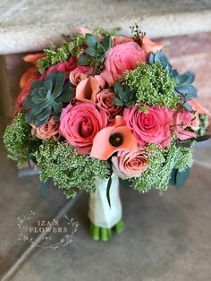 Coral Rose Garden bouquet by Iza's Flowers, Inc.  coral roses, succulents and more ❤️