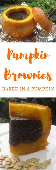 These pumpkin brownies are actually baked inside a pumpkin!  This is a fun and delicious recipe that can be the centerpiece of any fall or Halloween party.
