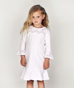 Loving this Creampuff Lace Dress - Infant, Toddler & Girls on #zulily! #zulilyfinds