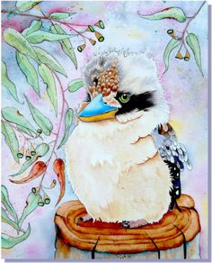 Giclee Art PRINT Kookaburra Bird Painting Reproduction Embellished w Gold