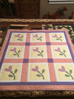 #7 of 2017, flowering hearts baby quilt.