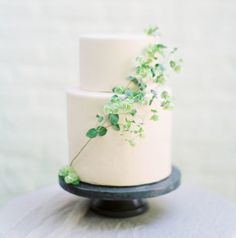 Simple white cake with ivy accent