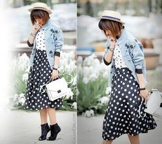street chic, street chic outfit, street style fashion, galant girl, polka dots outfit,  spring 2015 outfit,