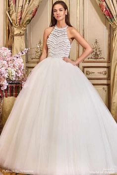 Platinum by Demetrios 2018 Wedding Dress - Arabella is the essence of modern romance. Featuring a halter bodice with visionary beadwork and a luscious princess tulle skirt.