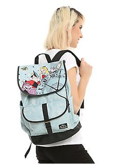 For your curious journey    Disney Alice In Wonderland Clock Slouch Backpack  Suitcase Backpack 2afeef2bd5d6e