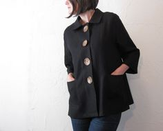 Linen Jacket - Black with Coconut Buttons and Pockets.