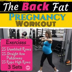 """The """"Back Fat"""" is so yuk during pregnancy. Nothing looks good, you're self conscious and then its so hard to lose postpartum. This Pregnancy workout for the back will help you make sure you don't gain excess weight and you can tone your back so you don't have to deal with the yukky back fat. Here's another Back Fat Workout and some tips to help you lose it.  http://michellemariefit.publishpath.com/the-back-fat-pregnancy-workout"""