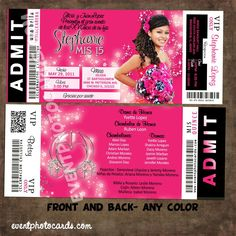 Concert Style Quinceanera Ticket Invitations, Estilo Ticket Boleto - http://www.eventphotocards.com/en/quinceanera-ticket-invitation-2012-1000