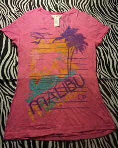 ~ Ocean Pacific OP Girls Neon Pink Burn Out  Top Tee Shirt ~ Size M 7 9 ~EUC
