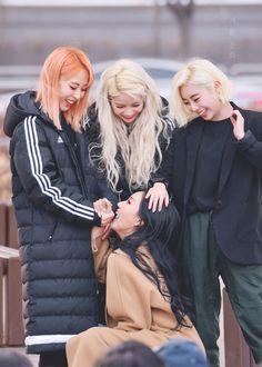 mamamoo aww look at our maknae hyejin South Korean Girls, Korean Girl Groups, K Pop, Babe, Fandom, K Idols, Pop Group, Rainbow Bridge, Wavy Hair