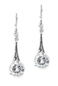 Sleek Cubic Zirconia Dangle Prom or Wedding Earrings