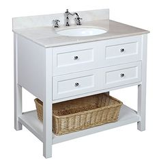 """Kitchen Bath Collection KBC115WTWT New Yorker Bathroom Vanity with Marble Countertop, Cabinet with Soft Close Function and Undermount Ceramic Sink, White/White, 36"""" Kitchen Bath Collection http://www.amazon.com/dp/B00DYW2I8I/ref=cm_sw_r_pi_dp_O3Y-wb10CTEF1"""