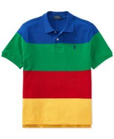 Polo Ralph Lauren Striped Cotton Mesh Polo Shirt, Big Boys - Blue S Cheap Ralph Lauren Polo, Ralph Lauren Style, Mens Polo T Shirts, Polo Shirt, Tee Design, Boy Outfits, Casual Outfits, Big Boys, Mesh