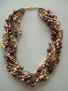 Treasure necklace made with leftover beads.