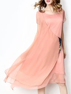 ¡Cómpralo ya!. Pink Crew Neck Asymmetric Dress. Apricot Round Neck Short Sleeve Polyester Asymmetrical Knee Length Plain Fabric has no stretch Summer Casual Day Dresses. , vestidoinformal, casual, informales, informal, day, kleidcasual, vestidoinformal, robeinformelle, vestitoinformale, día. Vestido informal  de mujer color rosa de SheIn.