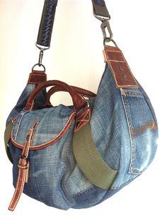 Old Nudie jeans DIY denim bag (side) ...