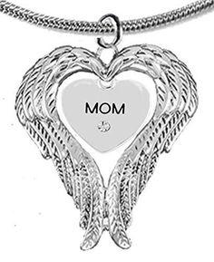 "Guardian Angel, Heart (Love) Shaped Wings, ""Mom"" Crystal Necklace, Adjustable - Nickel & Lead Free"