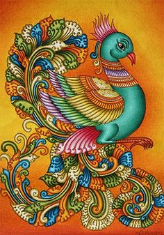 Mural painting is intricately hand painted and will instantly give your room a touch of elegance. This painting is ideal for. Indian Traditional Paintings, Indian Art Paintings, Peacock Painting, Peacock Art, Madhubani Art, Madhubani Painting, Kalamkari Painting, Kerala Mural Painting, Indian Folk Art