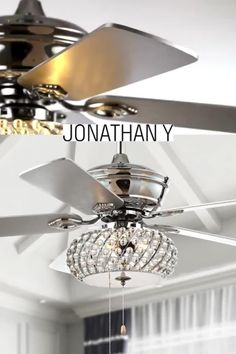 This fan-light combination's silvery tones add a touch of modern glam to your living room, bedroom or family room Living Room Fans, Living Room Ceiling Fan, Living Room Lighting, Bedroom Lighting, Bedroom Ceiling Fans, Fan Light Fixtures, Bedroom Light Fixtures, Bedroom Fan, Room Decor Bedroom
