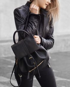 A Little Detail - Black Leather Backpack //