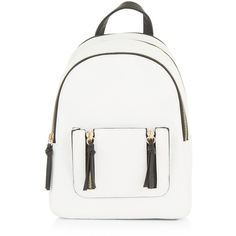 New Look White Zip Trim Mini Curved Backpack (£20) ❤ liked on Polyvore featuring bags, backpacks, backpack, white pattern, white backpack, print backpacks, patterned backpacks, day pack backpack and white mini bag