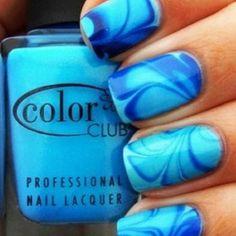 cool blue marble nail art design ideas