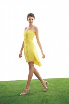 Strapless Fitted Bodice A Line High Low Chiffon Dress With Ruffles