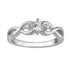Sterling Silver Lab-Created White Sapphire and Diamond Accent Infinity Ring, Women's, Size: 5