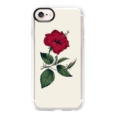 Vintage red green botanical flower - iPhone 7 Case And Cover ($40) ❤ liked on Polyvore featuring accessories, tech accessories, phone cases, phones, fillers, tech, iphone case, clear iphone case, clear floral iphone case and iphone cases
