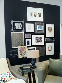 Looking for a FUN idea? West Elm shows a wall covered with chalkboard paint. A grouping of framed art was hung, leaving gaps for chalk art. A perfect idea for anyone artistic or for kid's rooms.
