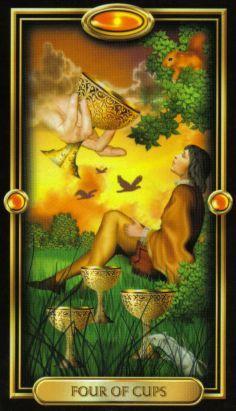 4 of cups, Gilded Tarot, by Ciro Marchetti Vampires, Divine Tarot, The Sun Tarot, Oracle Tarot, Tarot Card Meanings, Angel Cards, Sacred Art, Tarot Decks, Artwork