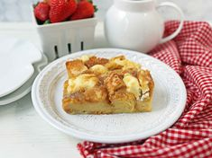 Challah bread soaked in a rich sweet custard with sweet cream cheese, topped with a brown sugar streusel topping. Baked French Toast Casserole, French Toast Bake, Challah French Toast, Overnight French Toast, Baking With Honey, Streusel Topping, Breakfast Recipes, Brown Sugar, Honey Baked