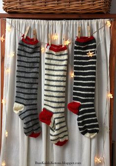 Knitted Christmas Stockings (colors for j stocking) Crochet Socks, Knitting Socks, Knit Crochet, Knit Socks, Knitted Christmas Stockings, Christmas Knitting, Crochet Stocking, Sock Toys, Fair Isle Knitting